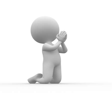 implore: 3d people - man, person on his knees praying.  Stock Photo