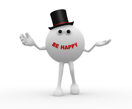 be happy: 3d sphere and text Be happy Stock Photo