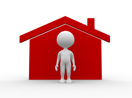 3d people - man, person with a house icon photo