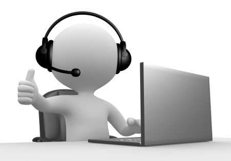 computer operator: 3d people - man, person with a Headphones with Microphone and laptop.