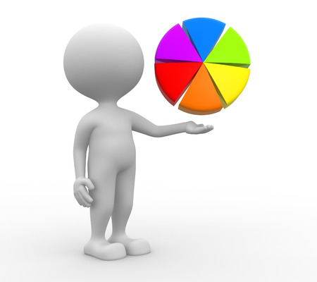 3d people - man, person pointing pie chart  photo
