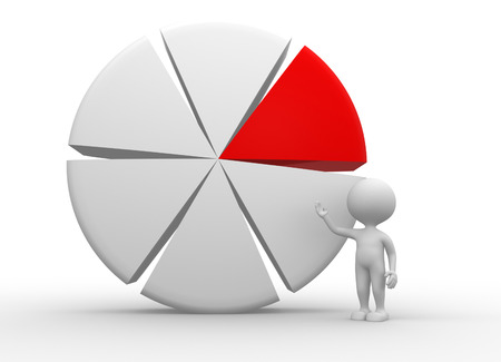 3d people - man, person pointing piechart  photo