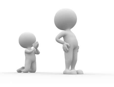 grudging: 3d people - men, person angry. Reconciliation, please  Stock Photo