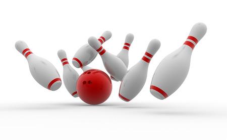 3d boule de bowling se écraser sur les broches