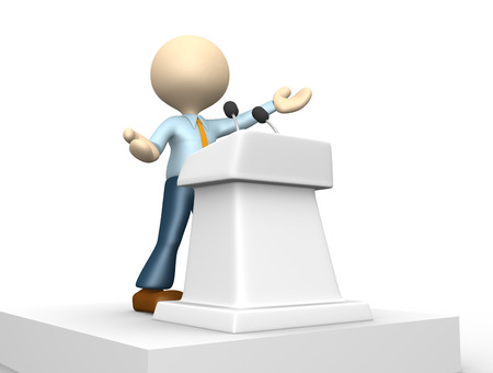 3d people - man, person speaking from a tribune.  Stock Photo