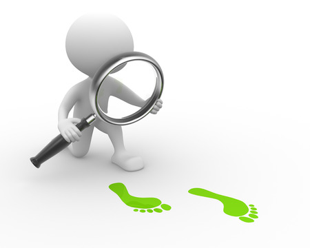 3d people - man, person with magnifying glass and footprints photo