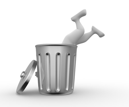 wastepaper basket: 3d people - man, person  searching in garbage container. Poverty