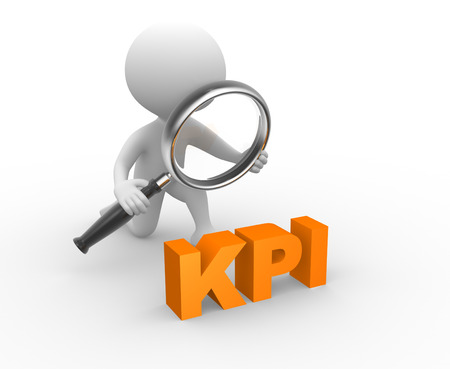 3d people - man, person with a magnifying glass and KPI ( key performance indicator )  photo