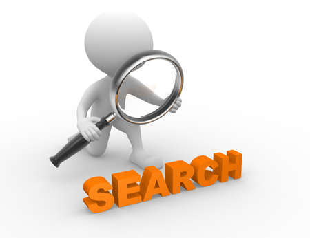 search query: 3d people - man, person with magnifying glass and word Search. Search concept  Stock Photo
