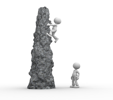 3d people - men, person climbing a cliff  photo