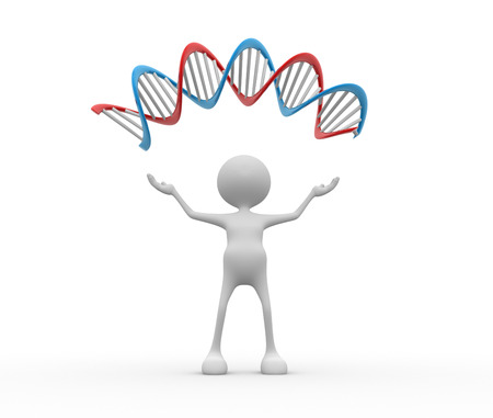 icon idea idiom illustration: 3d people - man, person with a DNA structure.