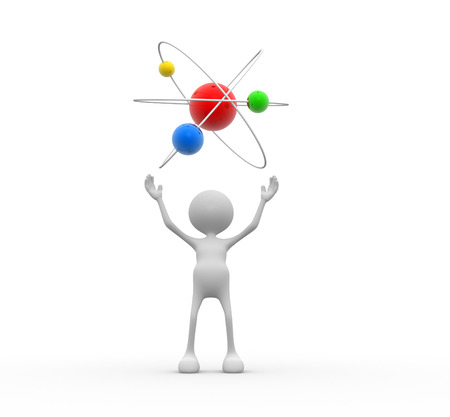 3d people - man, person with a conceptual structure of atom  Stock Photo - 26787602