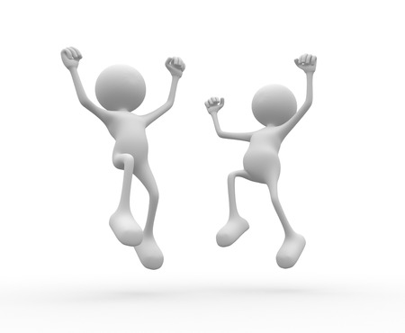 excited man: 3d people - man, person happy. Success