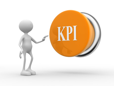 kpi: 3d people - man, person with KPI ( Key Performance Indicator ) button