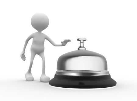 eagerness: 3d people - men, person and a service bell.  Stock Photo