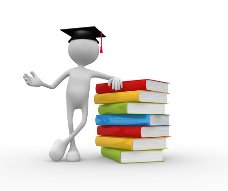 3d people - man, person with graduation and books. photo