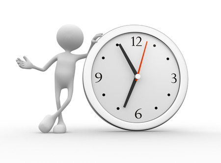 elapsed: 3d people - men, person with a big clock  Stock Photo