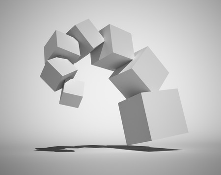 3d abstract structure. Boxs photo