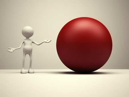 void: 3d people - man, person and red sphere. Stock Photo