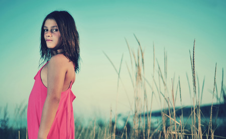 pureness: Young girl in nature Stock Photo