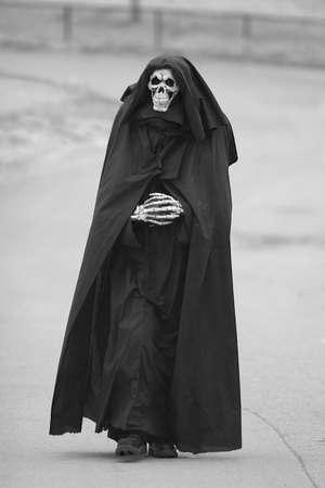 skeleton costume: Grim Reaper Stock Photo