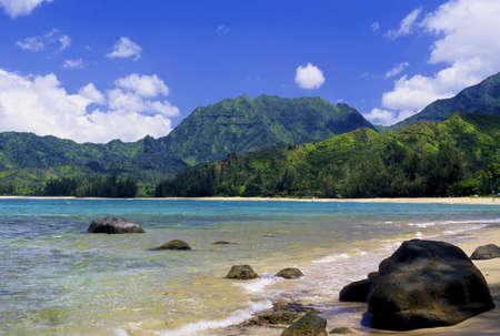 kauai: View of Hanalei Bay on the scenic north shore of Kauai, Hawaii.
