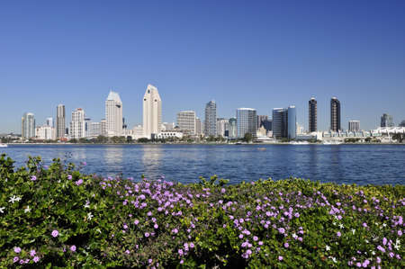 marina: View of the San Diego skyline as seen from Coronado Island.