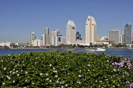 A motor boat moves along San Diego Bay in Southern California. photo