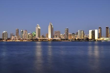 san diego: View of the San Diego skyline as seen from Coronado Island.