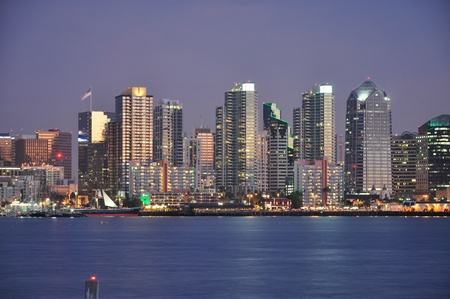 diego: Skyscrapers line the waterfront in downtown San Diego.