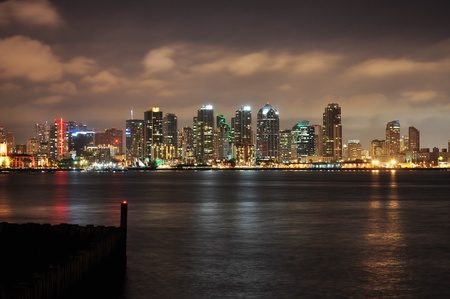 diego: View of the San Diego skyline as seen from Harbor Island. Stock Photo