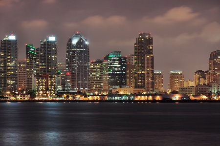san   diego: Downtown towers line the waterfront in San Diego, California.