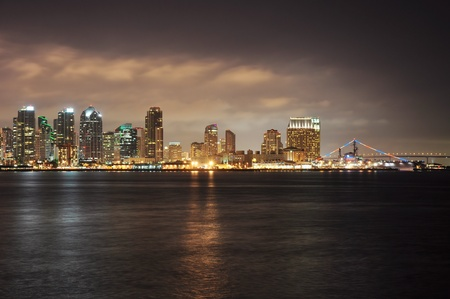 View of the San Diego skyline at night. photo
