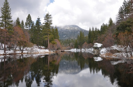Wintertime view of Lake Fulmor on Mt. San Jacinto.