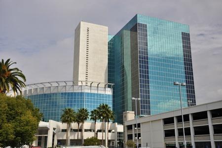 riverside trees: Modern office building in Riverside, California. Stock Photo