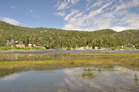 Homes and cabins line the north shore of Big Bear Lake. photo