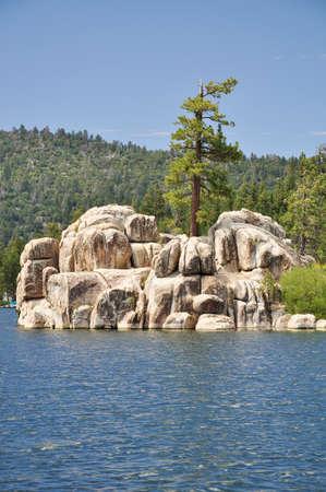 lone pine: Un solitario pino se encuentra en la parte superior de la isla del Tesoro en Big Bear Lake.