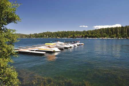 Boats are docked at Lake Arrowhead in the San Bernardino mountains. photo