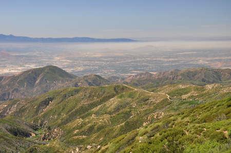 bernardino: Smog blankets the city of San Bernardino in Southern California. Stock Photo
