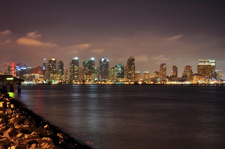 The downtown San Diego skyline is viewed at night from Harbor Island. photo
