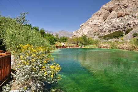 whitewater: View of a large pond in Whitewater Canyon near the desert town of Palm Springs, California.