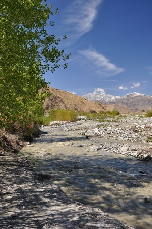 mirage: View of a rushing creek as it flows through Whitewater Canyon in the Southern California desert.