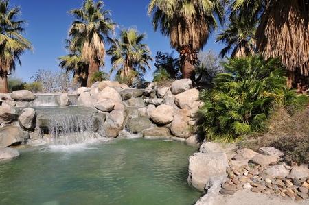 palm desert: L'acqua cade in un piccolo stagno in un parco a Palm Desert, California