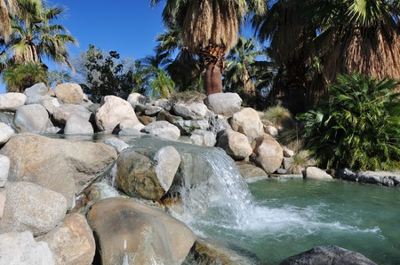 mirage: View of a water landscape at a city park in Palm Desert, California