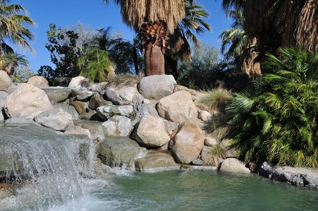 mirage: Water spills into a pool at a city park in Palm Desert, California