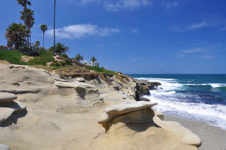 iceplant: View of the Pacific Ocean as seen from a beach in La Jolla, California  Stock Photo