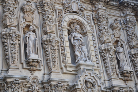 cultural history: View of detailed carvings and sculptures which are found on many historic buildings in Balboa Park in the city of San Diego, California