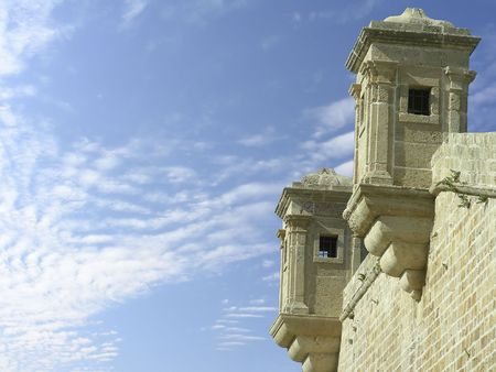 turrets:    Turrets of old fortress, Akko, Israel