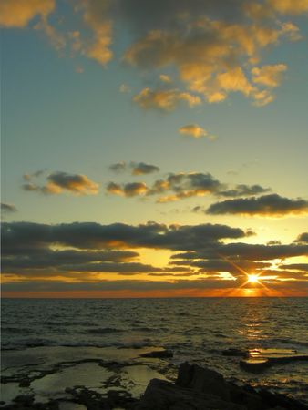 The sunset on a Mediterranean sea