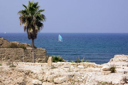 openspace: ancient  ruins on background sea, Caesarya, Israel